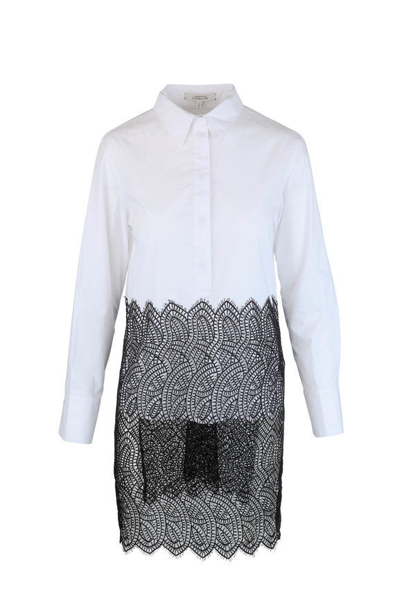 Dorothee Schumacher Purity White & Black Lace Bottom Blouse