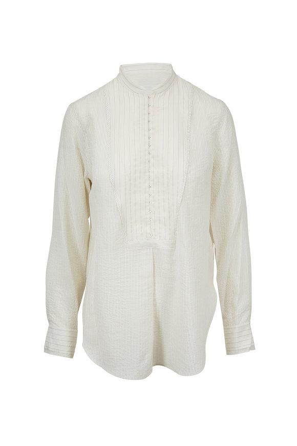 Rag & Bone Alfie Beige Striped Hook-Front Shirt