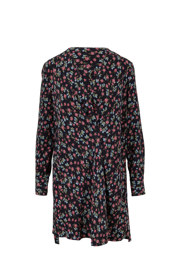Rag & Bone Shields Black Floral Printed Silk Dress