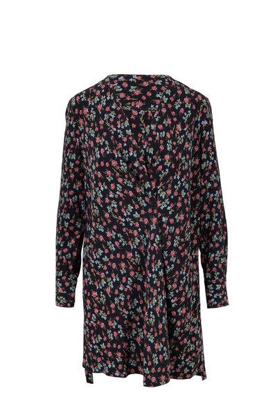 Rag & Bone - Shields Black Floral Printed Silk Dress