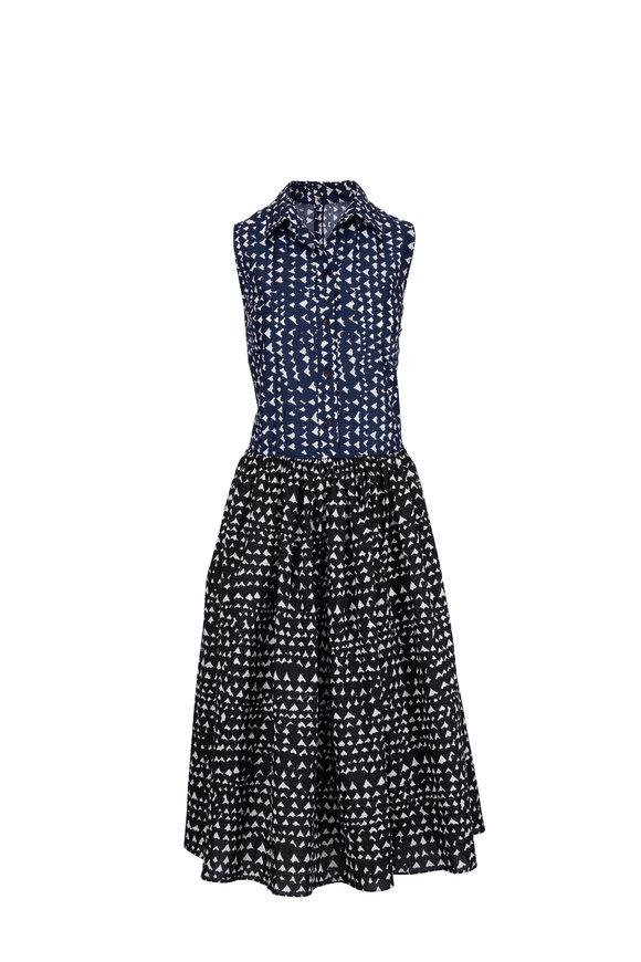 Peter Cohen Black Navy & White Heart Print Dress