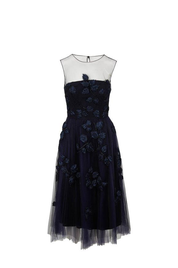 Carolina Herrera Caroline Navy Tulle Embroidered Cocktail Dress