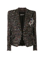 Balmain - Black Metallic Tweed Embellished Patch Jacket