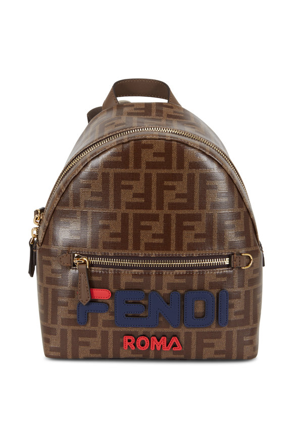 Fendi Brown Coated Canvas Mania Logo Mini Backpack