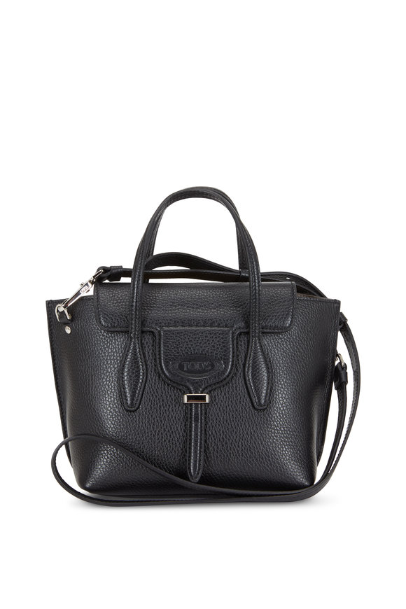 Tod's New Joy Black Pebbled Leather Mini Hobo Bag