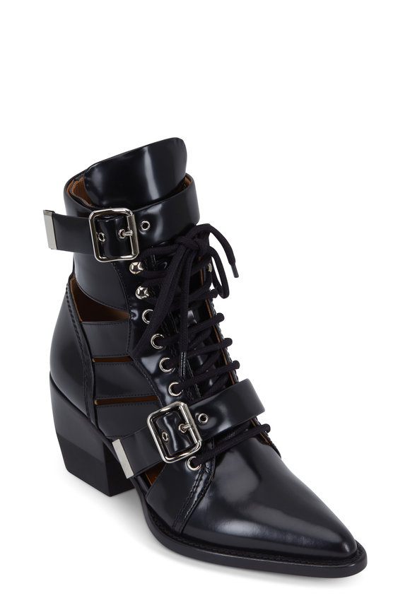 Chloé Serina Black Glossy Leather Buckled Bootie, 60mm