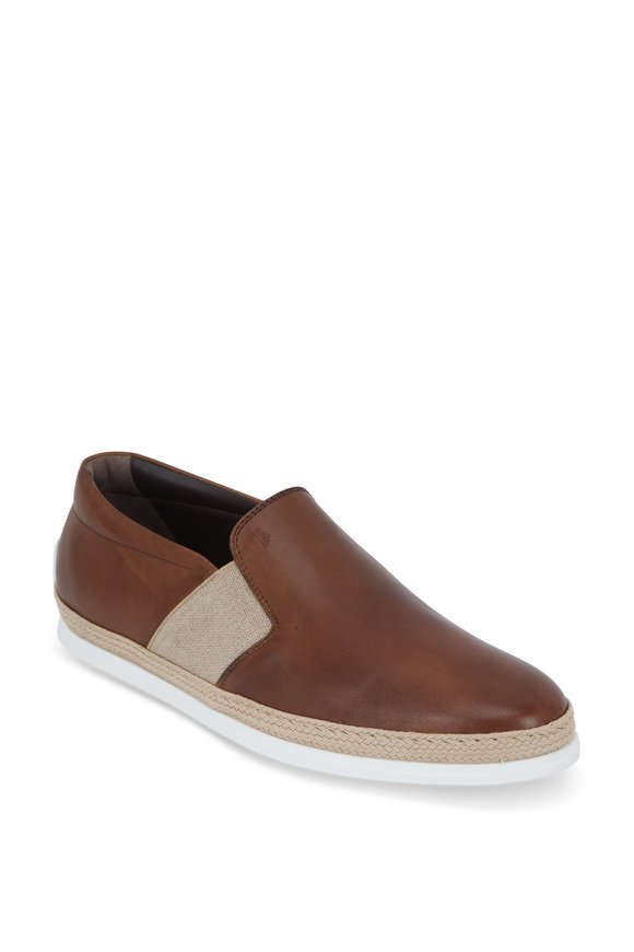 Tod's Gomma Brown Leather Espadrille Loafer