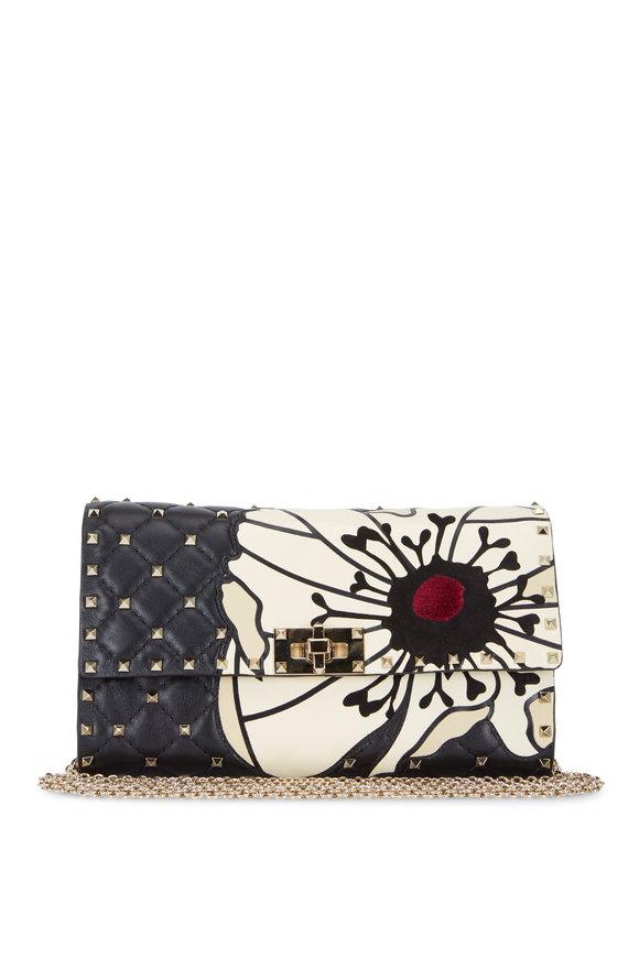 Valentino Garavani Rockstud Spike Black Flower Appliqué Chain Bag