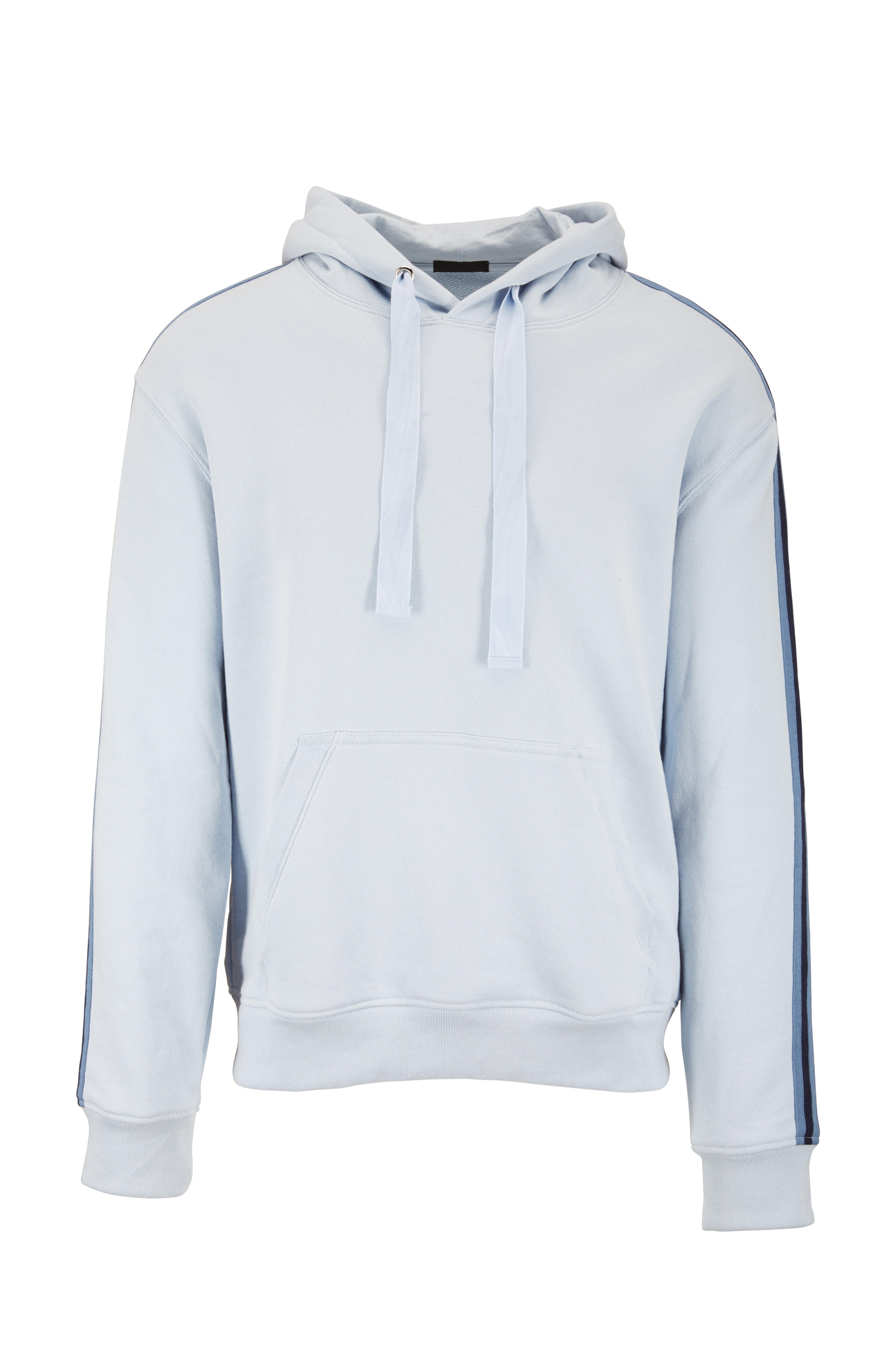 0a695b38860 A T M - Powder Blue Striped Detail French Terry Hoodie | Mitchell Stores