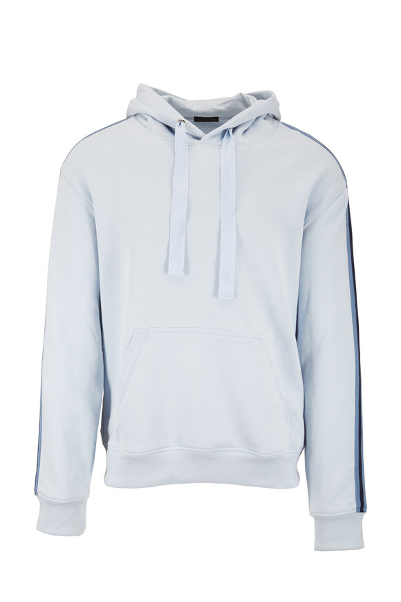 A T M Powder Blue Striped Detail French Terry Hoodie