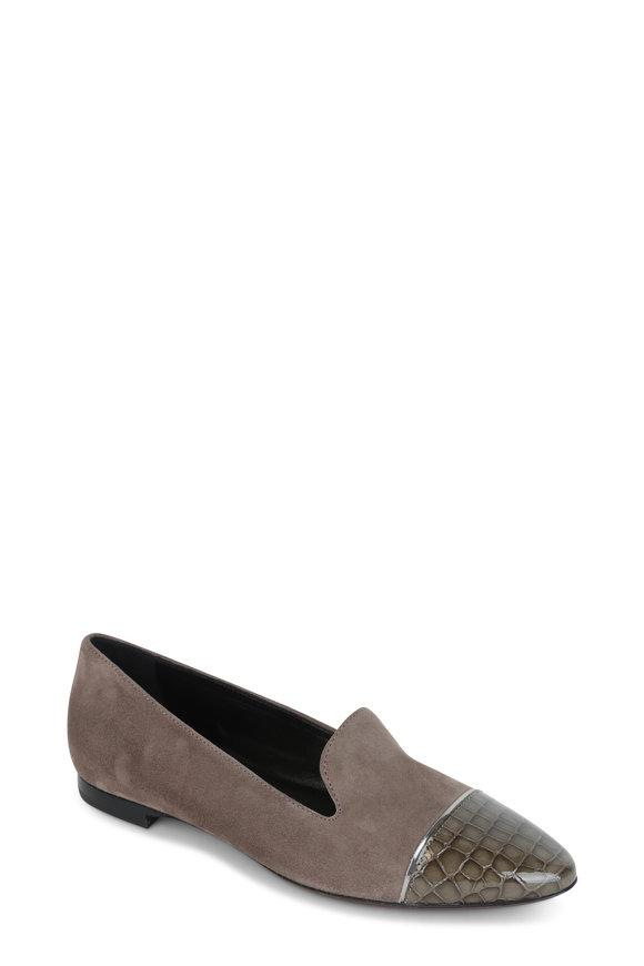 AGL Gray Suede Cap-Toe Ballet Flat