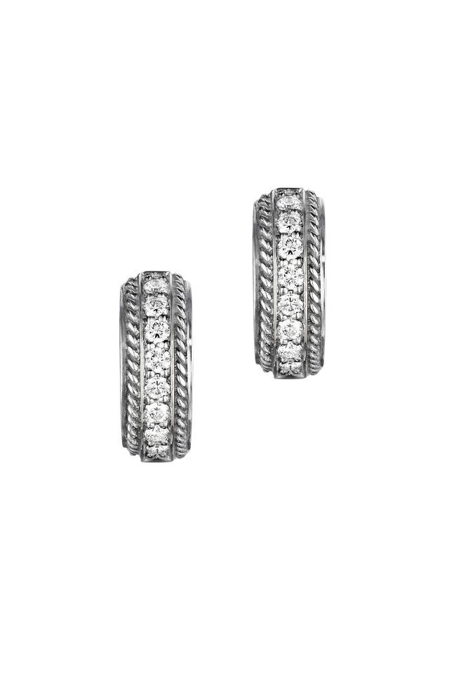 White Gold Pavé-Set Diamond Huggie Earrings