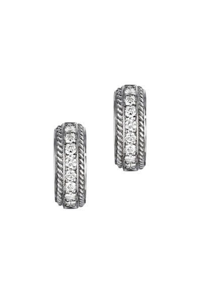 Penny Preville - White Gold Pavé-Set Diamond Huggie Earrings