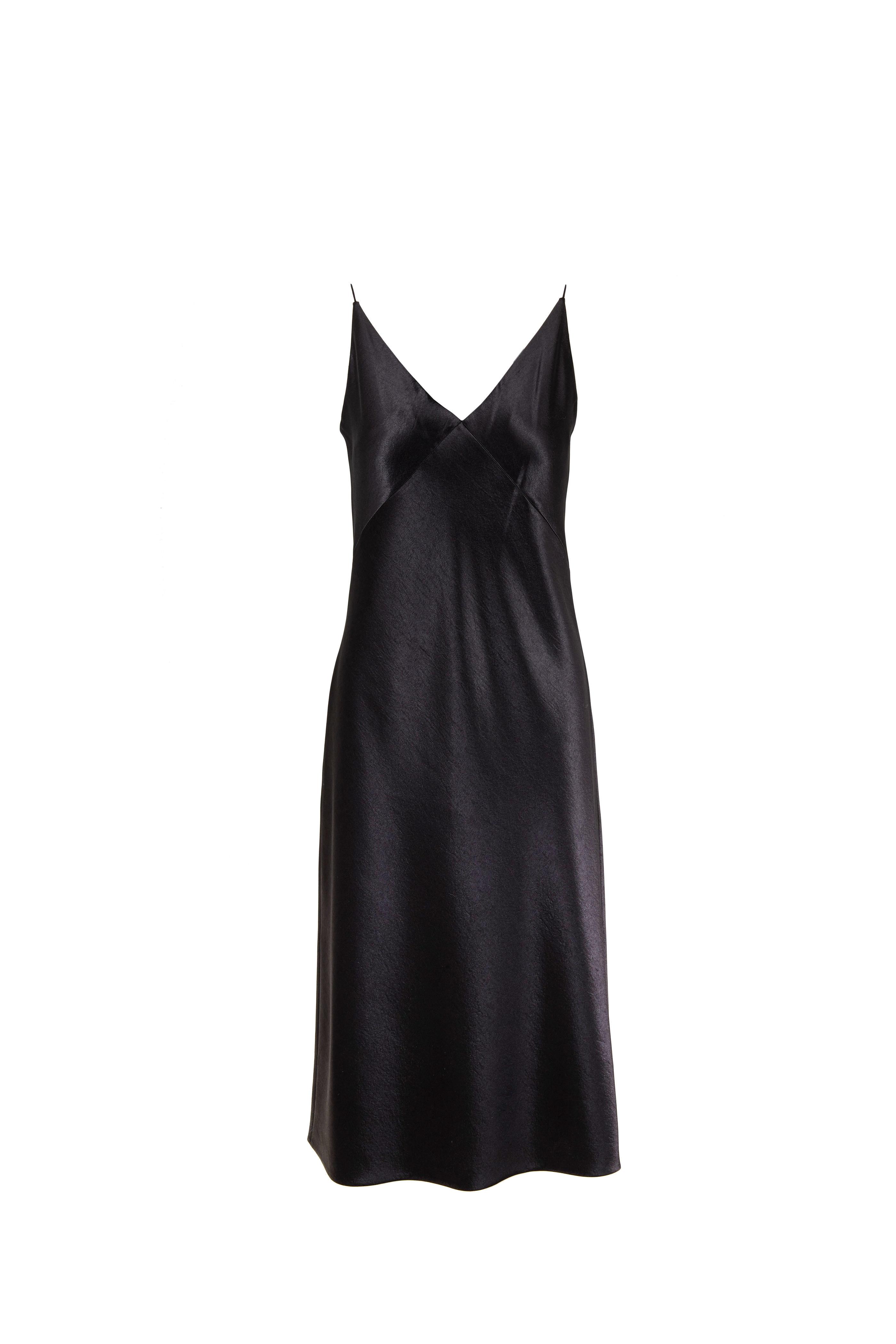 9d3ae797102d Vince - Metallic Black Satin V-Neck Midi Slip Dress   Mitchell Stores