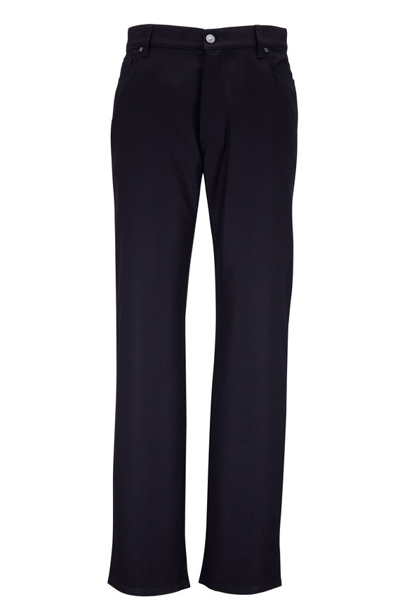 Ermenegildo Zegna Navy Wool Flannel Five Pocket Pant