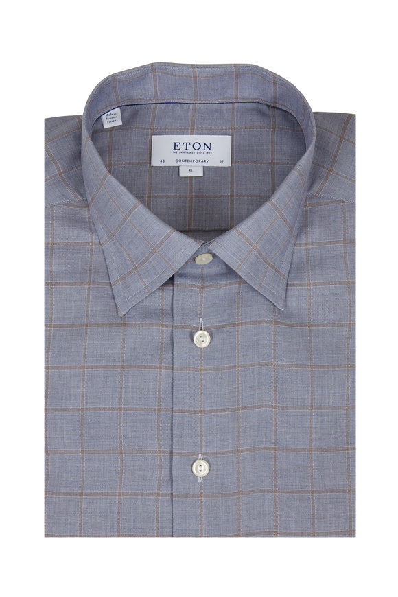 Eton Blue Windowpane Contemporary Fit Sport Shirt