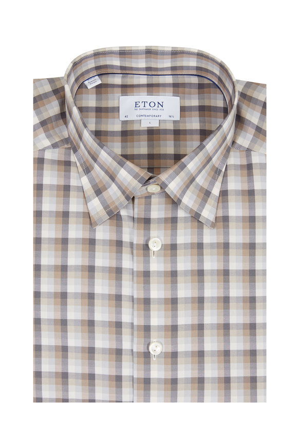 Eton Beige & Gray Gingham Contemporary Fit Sport Shirt