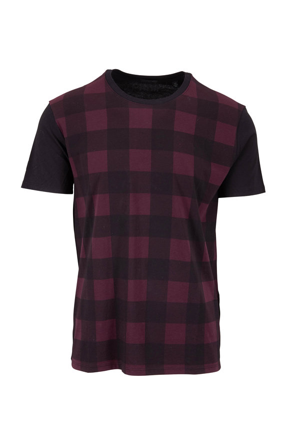 A T M Merlot & Black Plaid Crewneck T-Shirt