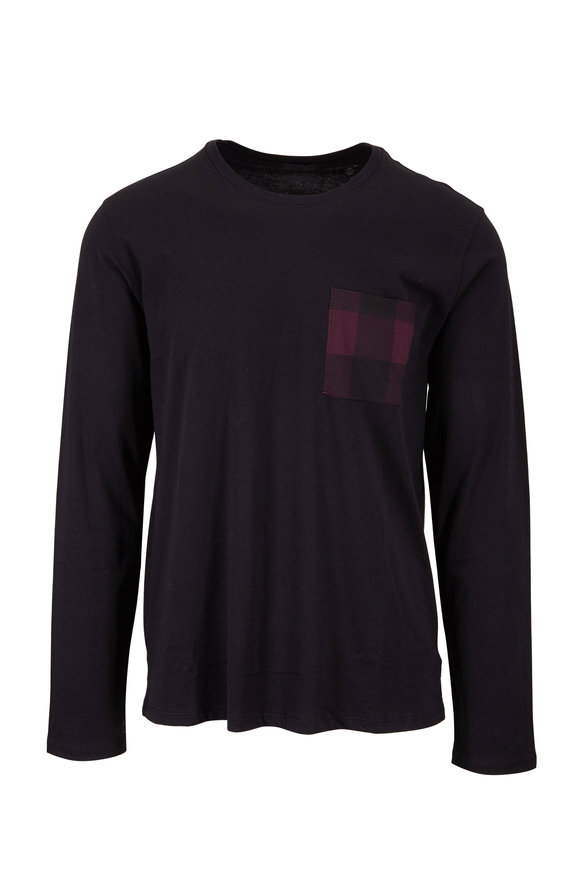 A T M Black Patch Pocket Long Sleeve T-Shirt