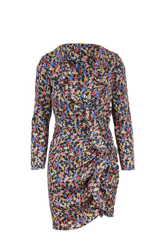 Veronica Beard Minna Black Multi Floral Long Sleeve Ruffle Dress
