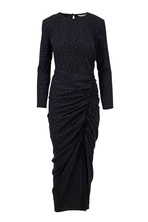 Veronica Beard Amara Black Sequin Long Sleeve Ruched Dress