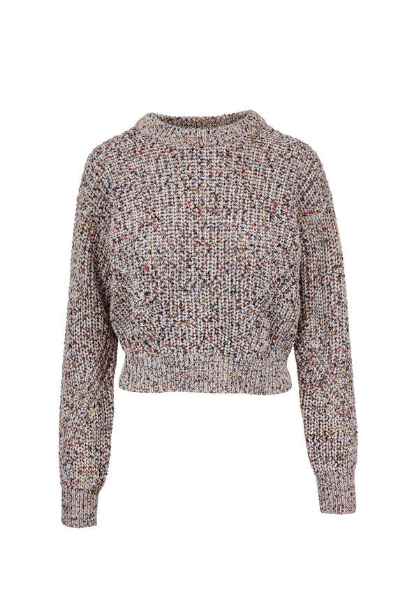 Veronica Beard Ryce Rainbow Speckled Knit Crewneck Sweater