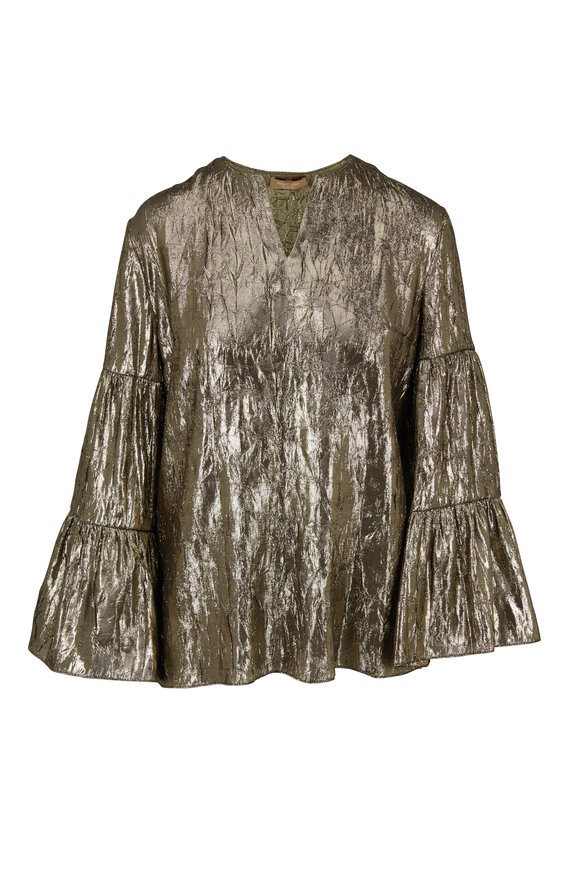 Michael Kors Collection Gold Lamé Tiered Sleeve Peasant Top