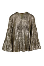 Michael Kors Collection - Gold Lamé Tiered Sleeve Peasant Top