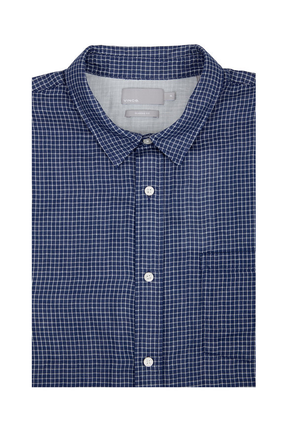 Vince Blue & White Check Sport Shirt