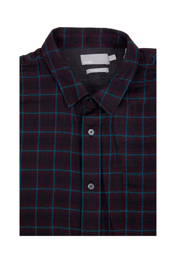 Vince Black & Green Plaid Sport Shirt