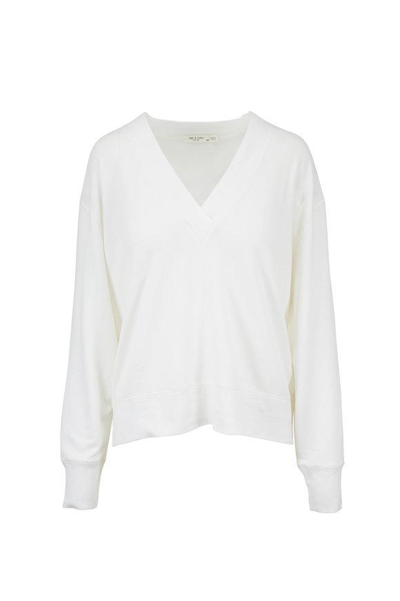 Rag & Bone Flora White Modal V-Neck Sweater