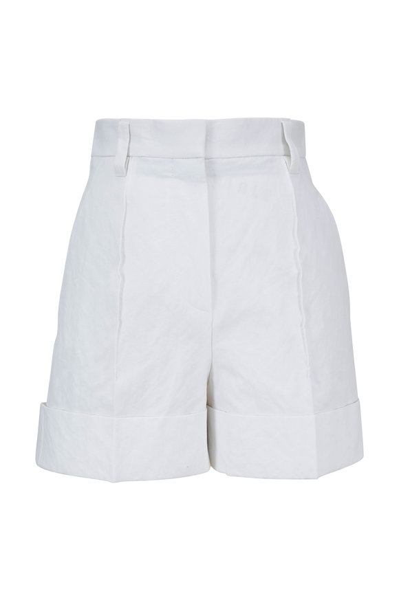 Brunello Cucinelli White Stretch Cotton Cuffed Short