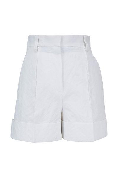 Brunello Cucinelli - White Stretch Cotton Cuffed Short