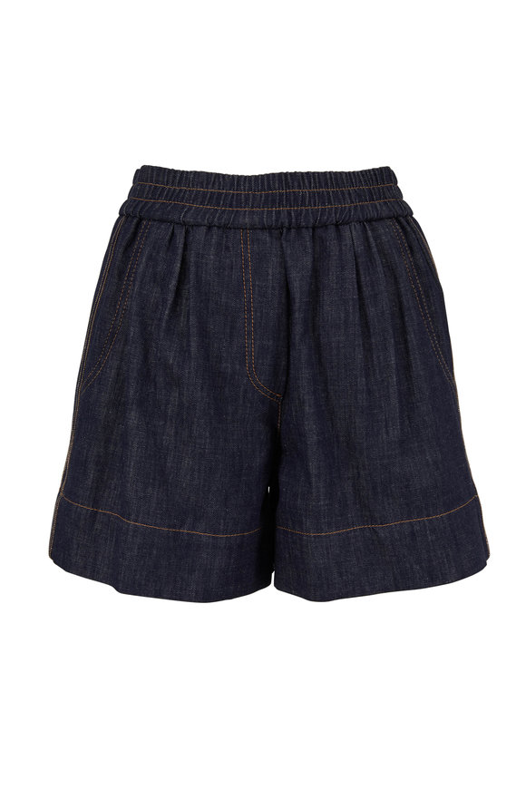 Brunello Cucinelli Dark Denim Monili Striped Pull-On Short