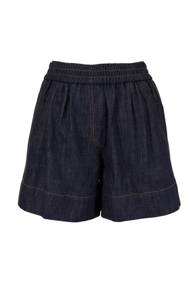 Brunello Cucinelli - Dark Denim Monili Striped Pull-On Short