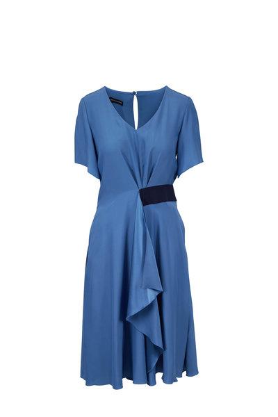 Emporio Armani - Indigo Silk Flutter Sleeve Dress