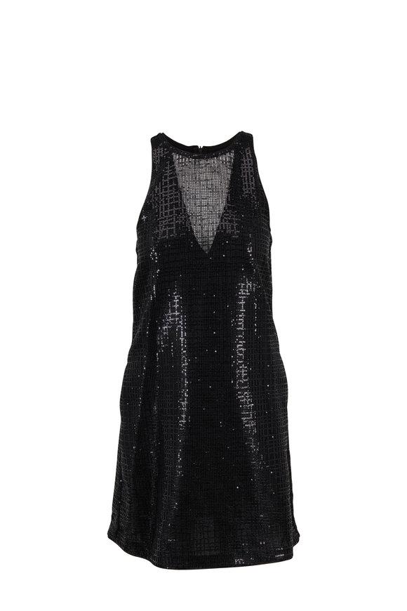 Emporio Armani Black Sequin A-Line Sleeveless Dress