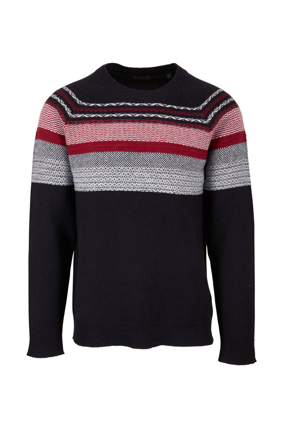 A T M Black & Red Fair Aisle Wool Sweater