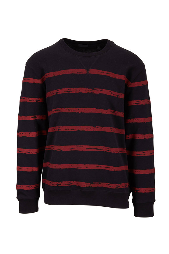 A T M Black & Red Striped French Terry Sweater