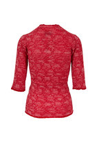 Lainey Keogh - Red Cashmere Three-Quarter Sleeve Sweater