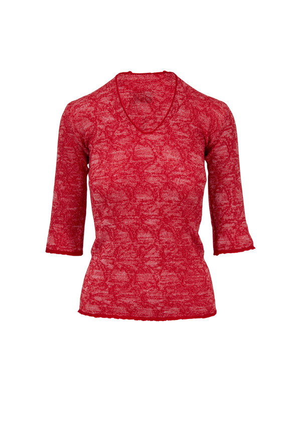Lainey Keogh Red Cashmere Three-Quarter Sleeve Sweater