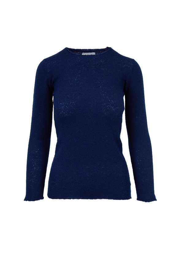 Lainey Keogh Navy Cashmere Crewneck Sweater
