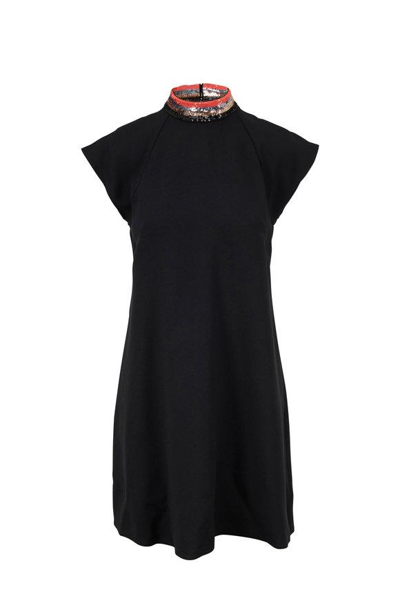 Emporio Armani Black Cady Embellished Neckline Cap Sleeve Dress
