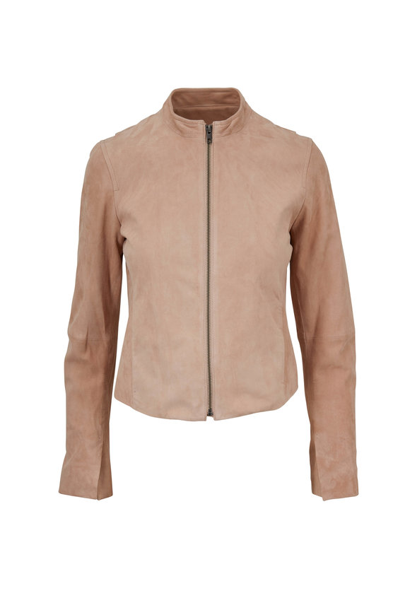 Vince Rose Quartz Suede Moto Jacket