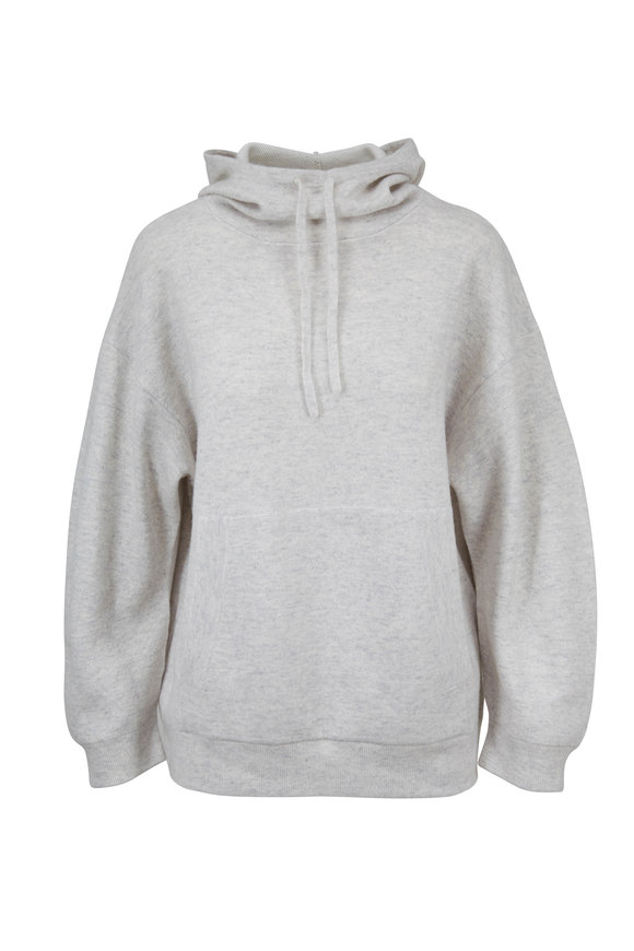 Vince Heather Cloud & Optic White Cashmere Hoodie
