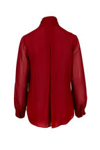 L'Agence - Gisele Red Silk Tie-Neck Blouse