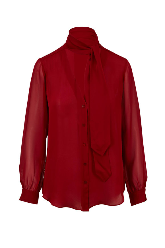 L'Agence Gisele Red Silk Tie-Neck Blouse