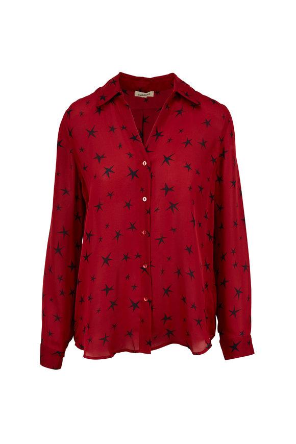 L'Agence Nina Red Silk Star Printed Blouse