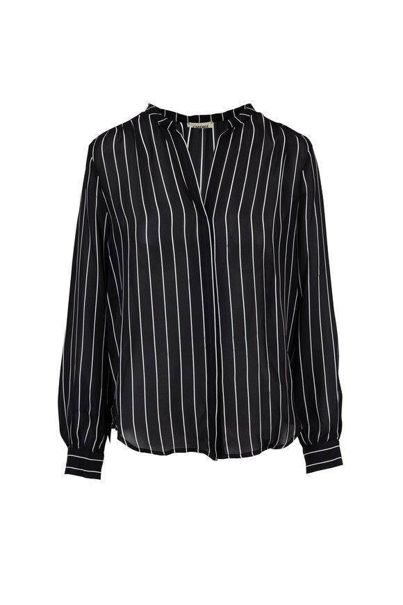 L'Agence Bardot Black & White Striped Silk Blouse