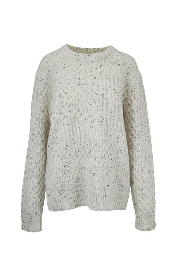 Vince Heather White Cable Knit Pullover